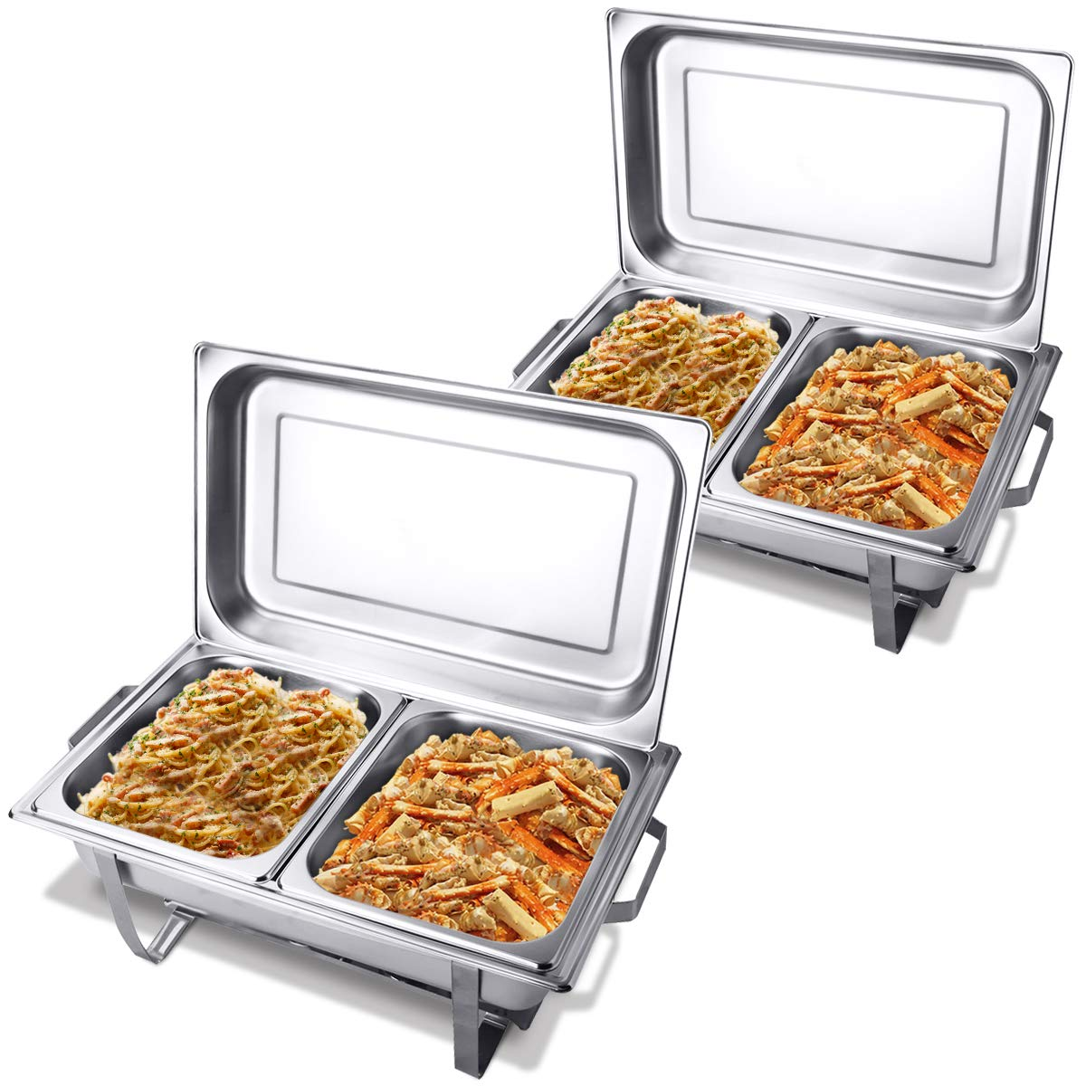 Giantex 2 Packs Chafing Dish 9 Quart Chafer Dishes Buffet Set Stainless Steel Rectangular Chafing Dish Set Full Size (9 Quart w/ 2 Half Size Pan)