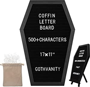 Gothvanity Coffin Letter Board - Gothic Changeable Letter Board for Table Top or Wall - Gothic Decor for Home, Office, Bistro and School - 17x11 inches - Black