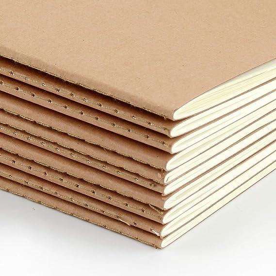 VEESUN Pack de 10 cuadernos, A5 Tapa de Kraft Blanda 5 líneas y 5 ...