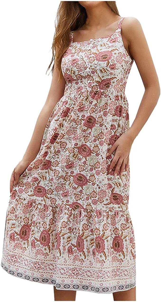 LUGOW Bohemien Minikleid Damen Abendkleider MidiKleider