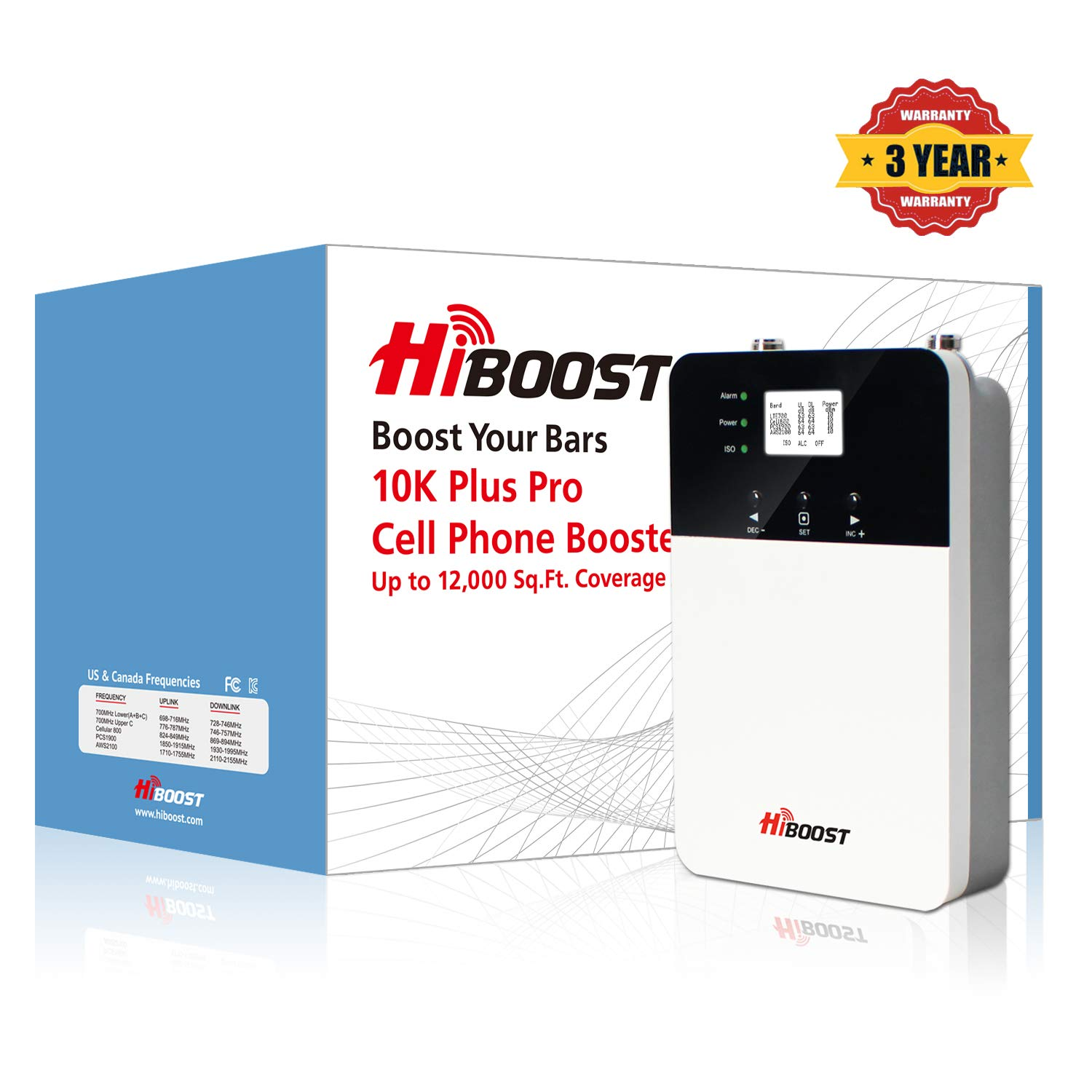 10K Plus Pro Signal Booster, HiBoost App Helps Fine Tune Max Power for Best Coverage, Cell Booster Improve Phone Signal for Home and Office up to 6,000~12,000 Sq.Ft Cell Phone Booster for All Carriers by HiBoost