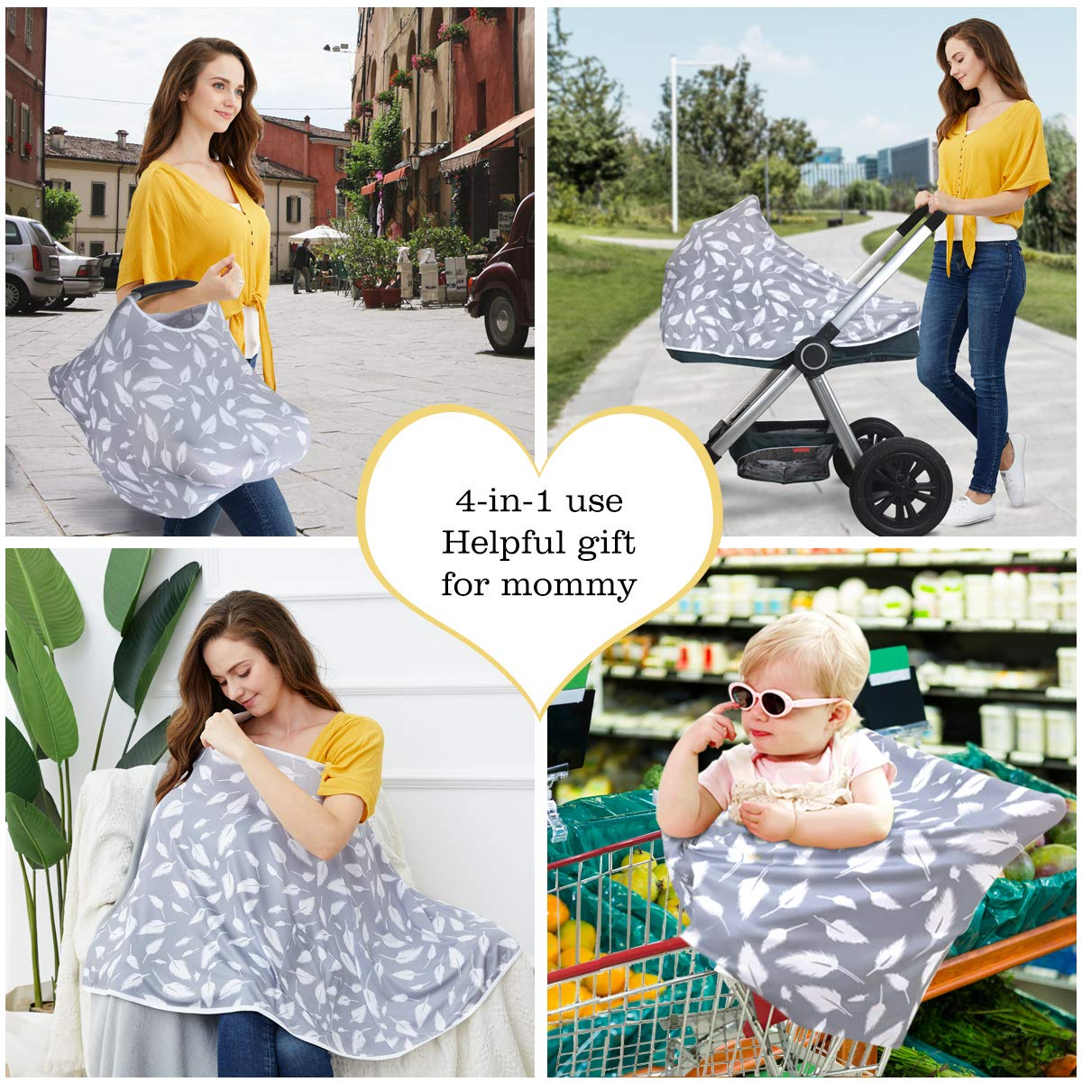 360/° Full Privacy Breastfeeding Protection Baby Shower Gifts for Boy/&Girl Stroller Cover Baby Nursing Cover /& Nursing Poncho Multi Use Cover for Baby Car Seat Canopy Shopping Cart Cover