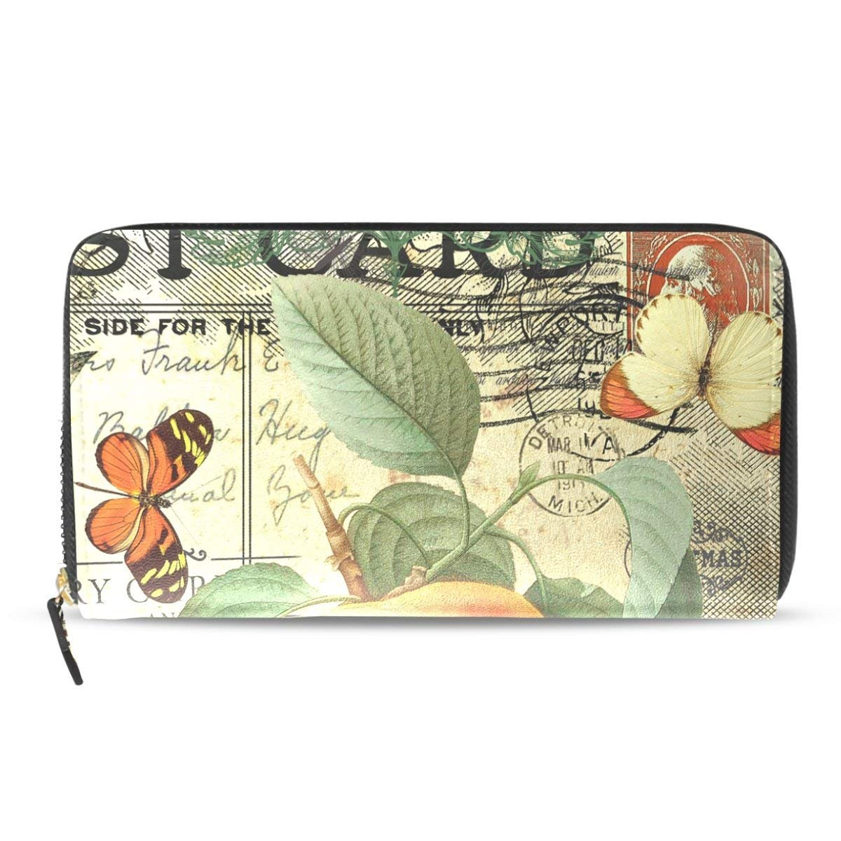 Peony Flower Pasport Zip Wallet PU Leather Long Clutch Purse HandBag For Women