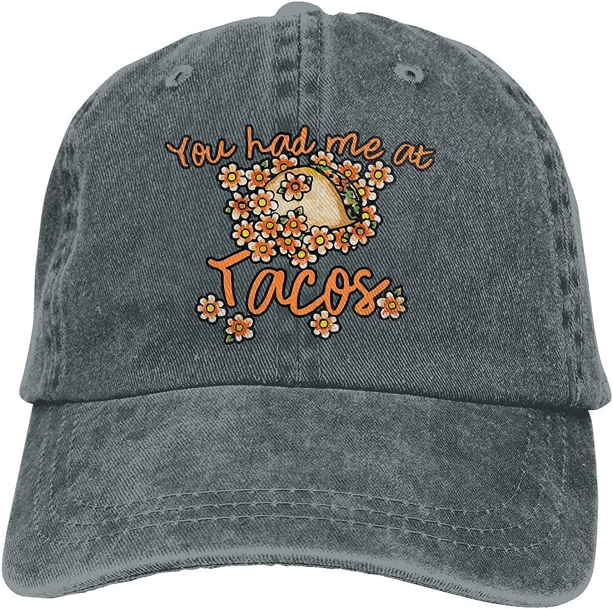 TBVS 77 Men Women Washed Cotton Denim Baseball Cap You Had Me at Tacos1-1 Snapback Cap