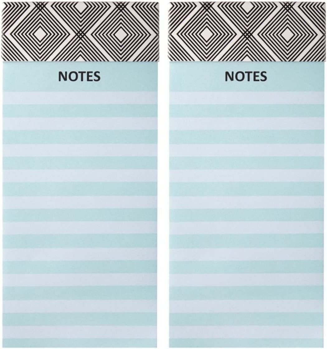 "Office Depot (TM) Magnetic Note/List Pad, Combo Set of Two, 4"" x 9"", Color Teal Stripe"
