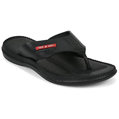 b5bb6a2c7eed DzVR Men's and Boy's Black Slippers and Flip Flops: Amazon.in: Shoes ...