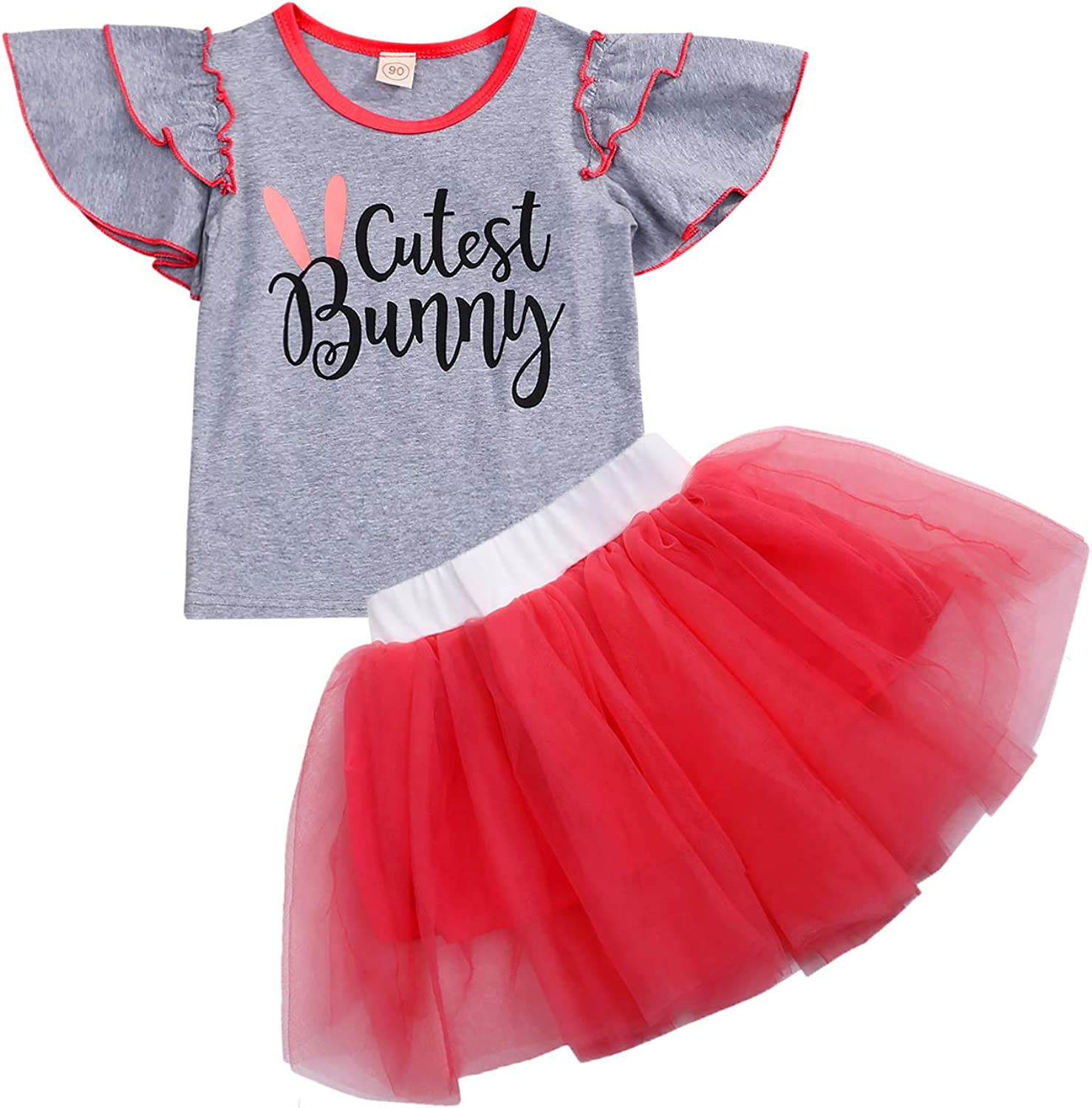 Fashion Kid Baby Girl Plaid Top T-shirt Lace Tutu Dress Skirt Outfit Set Clothes