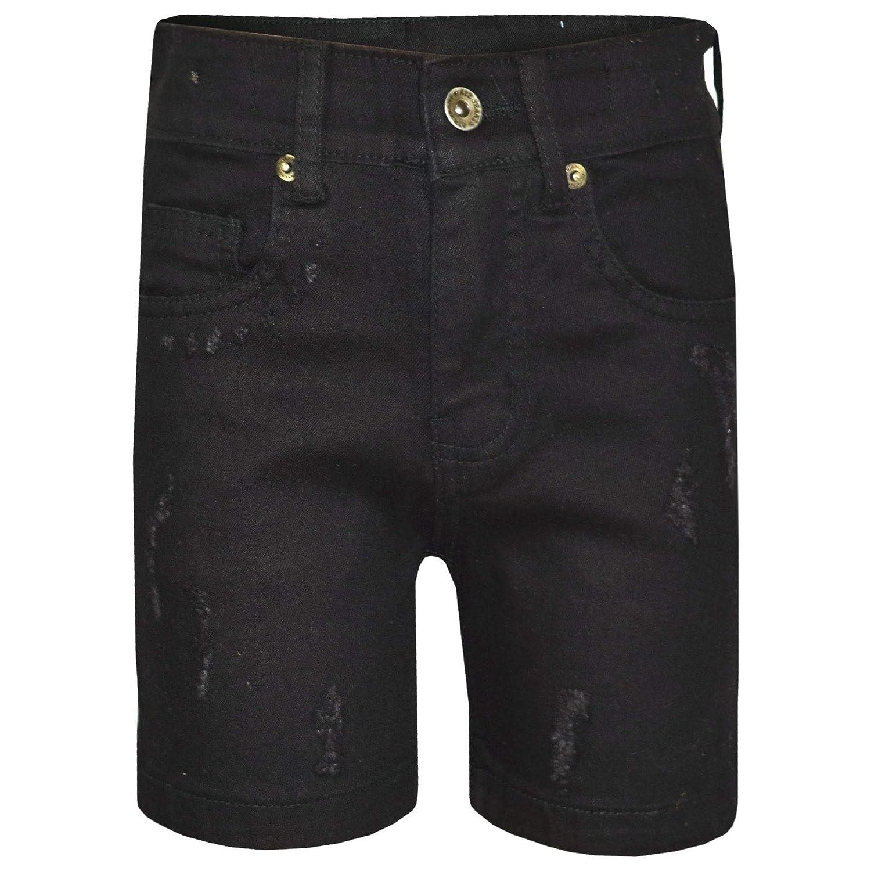 A2Z 4 Kids® Kinder Jungen Kurze Designer Denim Schwarz Zerrissene Chino Bermuda Jeans Kurze Casual Knie Länge Halbe Hosen Alter 5-13 Jahre