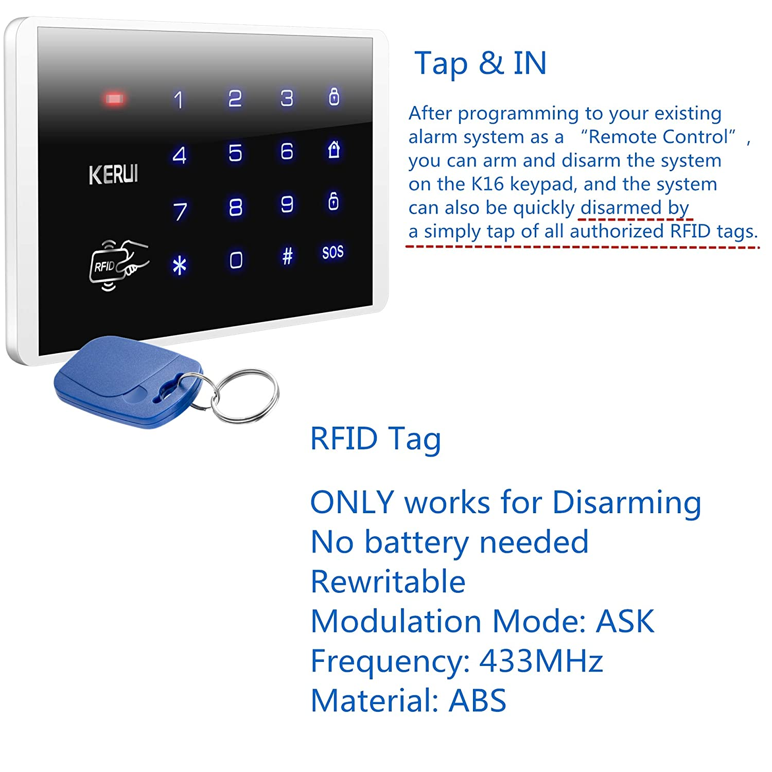 KERUI Wireless RFID Keypad Security Alarm Systems