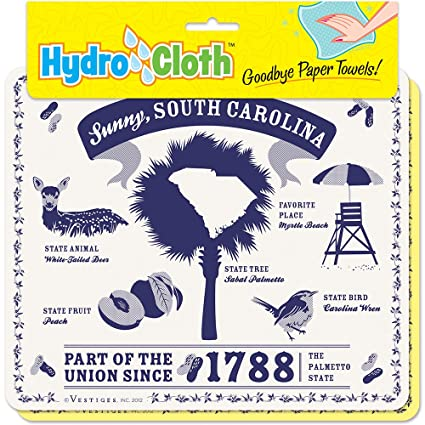 "Paños de esponja ecológicos, húmedos, con texto en inglés ""South Carolina"""