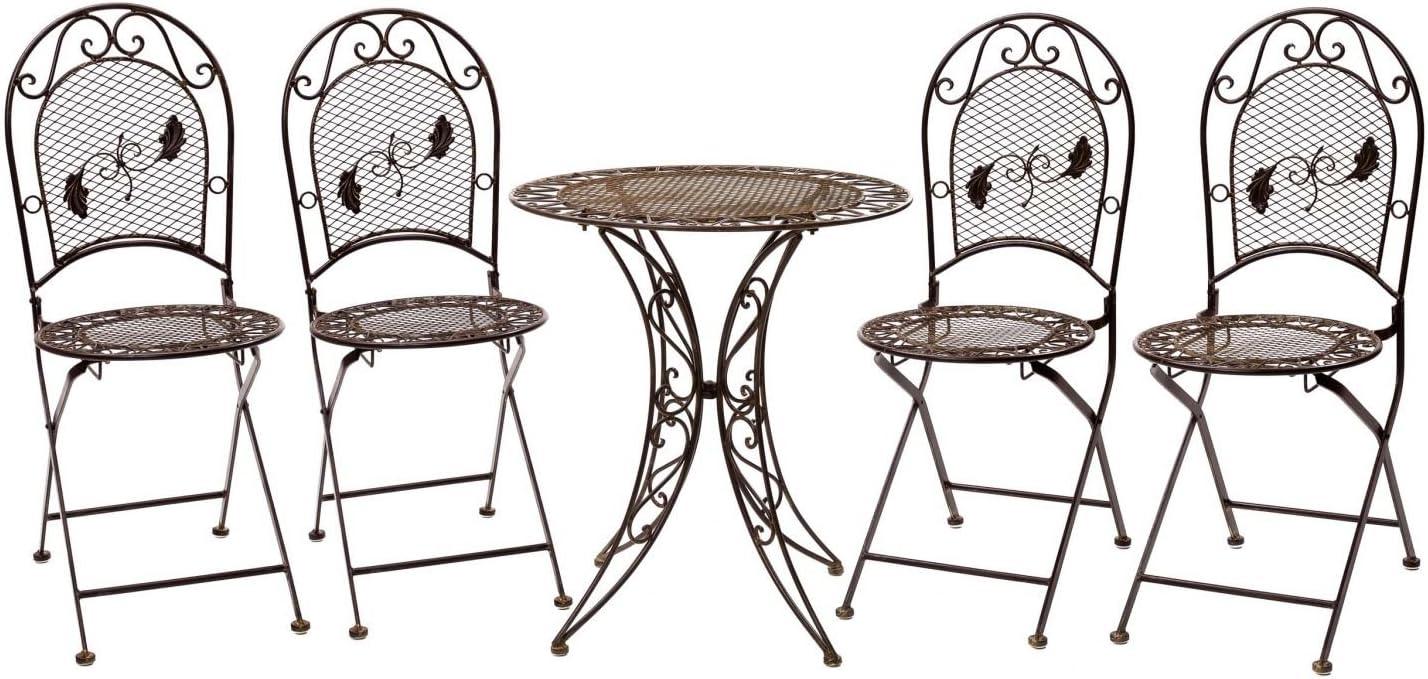 Conjunto Mesa 4 sillas de Hierro Forjado Muebles de jardín de Hierro Antiguo