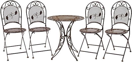 Conjunto Mesa 4 sillas de Hierro Forjado Muebles de jardín de Hierro Antiguo: Amazon.es: Jardín