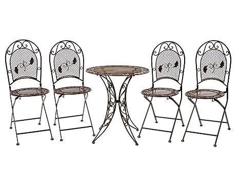 Conjunto Mesa 4 sillas de Hierro Forjado Muebles de jardín ...