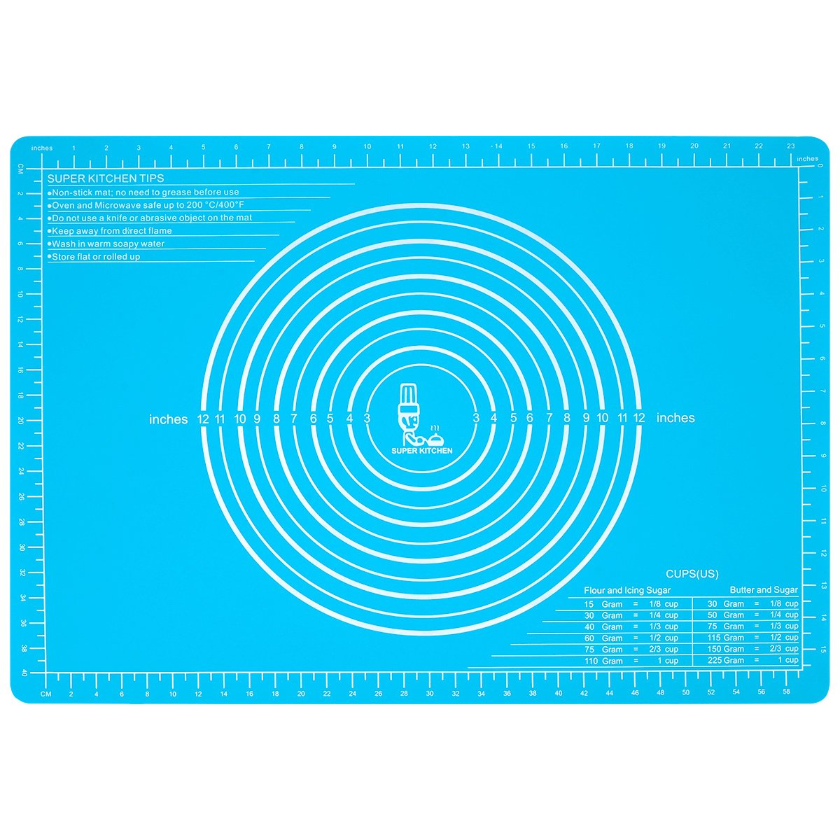 Extra Large Silicone Pastry Mat Non Stick with Measurements(65×45cm)for Non Slip Silicon Dough Rolling Baking Mats, Kneading/Table/Countertop/Place mats and Fondant/Sugarcraft/Pie Crust Sheet by Super Kitchen (Skyblue)
