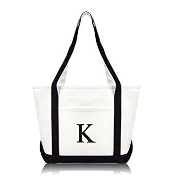 "d7b7ebc9b Image Unavailable. Image not available for. Color: DALIX 20"" K-Initial  Tote Bag Monogrammed Cotton Canvas in Black"