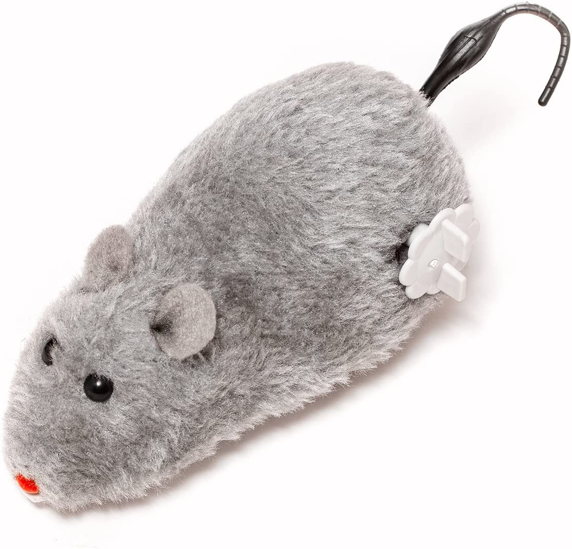 WinnerEco 4pcs Clockwork Mouse Toy,Wind Up Clockwork Racing Cute Plush Rat Mechanical Moving Funny Toy Play for Cat Dog Pet