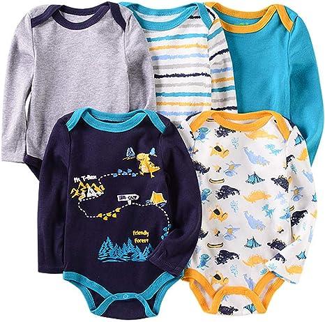 Pack de 5 Bebé Niños Body Mono de Manga Larga Mameluco Algodón Peleles Comodo Pijama Regalo de Recien Nacido, 0-3 Meses: Amazon.es: Bebé