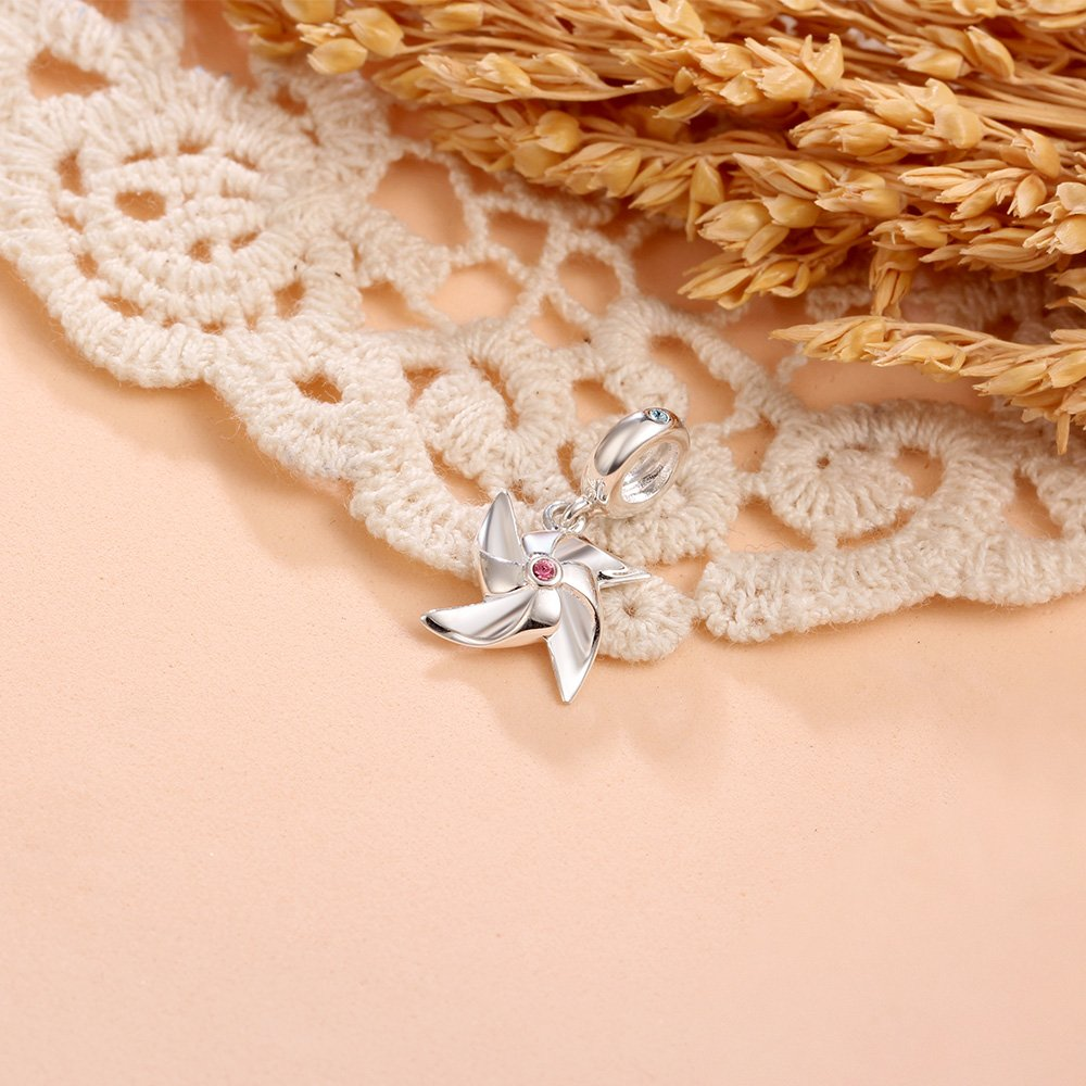 TCharm 925 Sterling Silver Charms Dangle Pinwheel Pendant Beads For Bracelets and Necklace