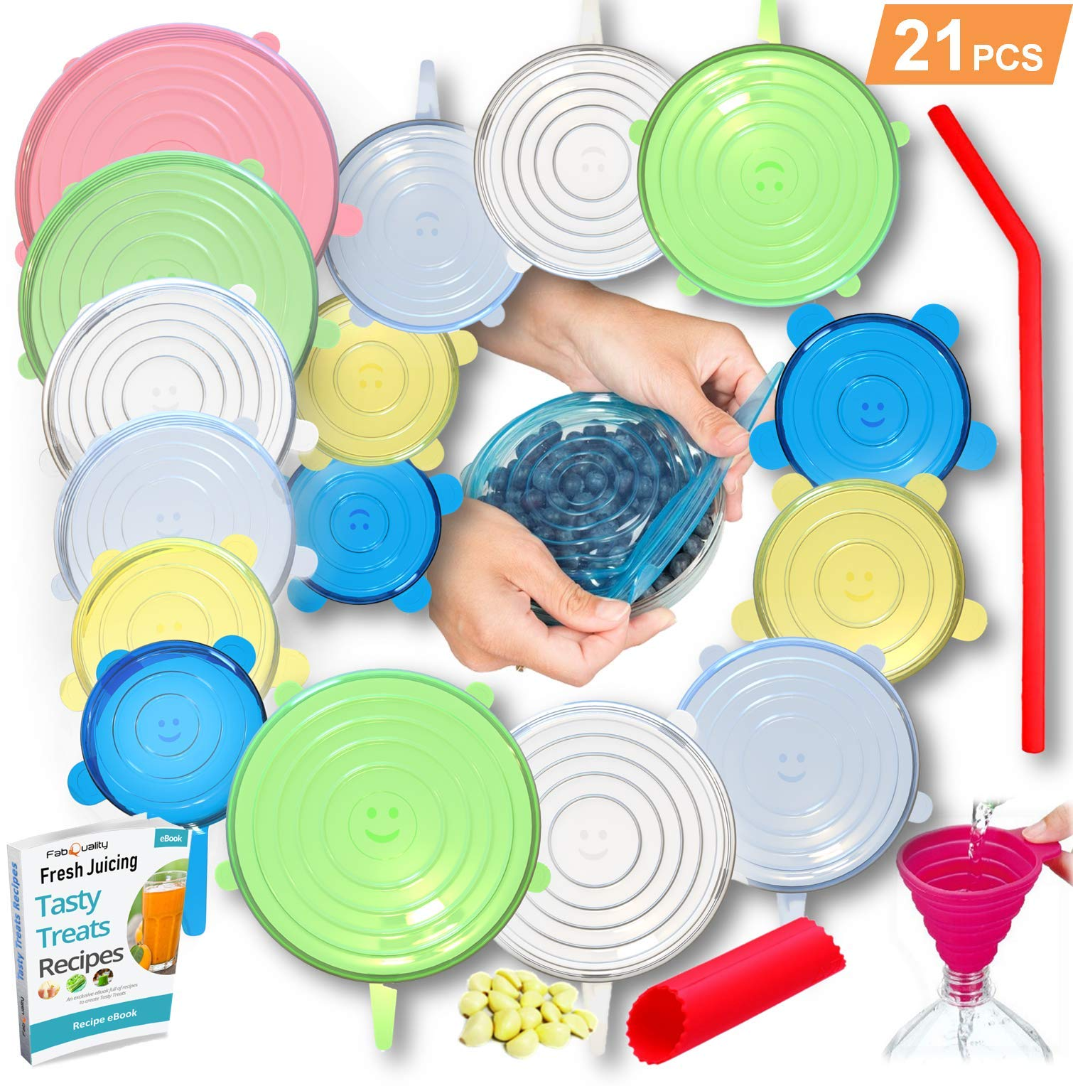 21PCS - 18pcs Silicone Stretch Lids,with Oil funnel, garlic peeler and straw Various Sizes and Shape of Containers,Reusable, Durable and Expandable Food Covers, Keeping Food Fresh, Dishwasher and Fre by fabquality (Image #1)