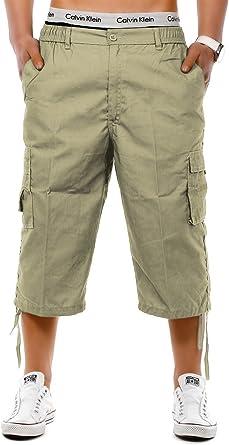 Herren Bermuda Shorts 3//4 Freizeit Sommer Kariert Kurze Hose Taschen Capri Cargo