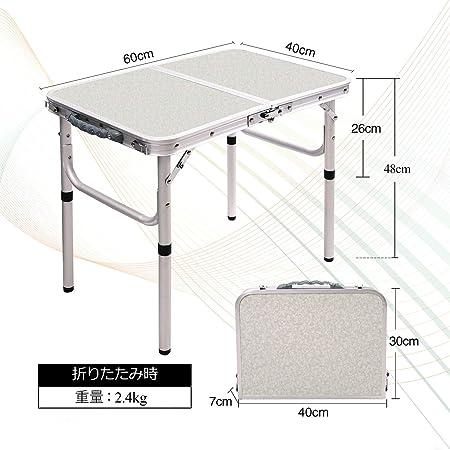 REDCAMP テーブル 折りたたみ アウトドア キャンプ 幅60/90/120cm 高さ調節 持ち運び アルミ コンパクト 軽量 ピクニック ガーデン 室内 屋外