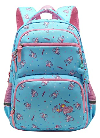 0ef7e8af71d Amazon.com   Girl Multipurpose Dot Primary Junior School Bag Bookbag  Backpack (16 Liters, Style B Blue)   Kids  Backpacks