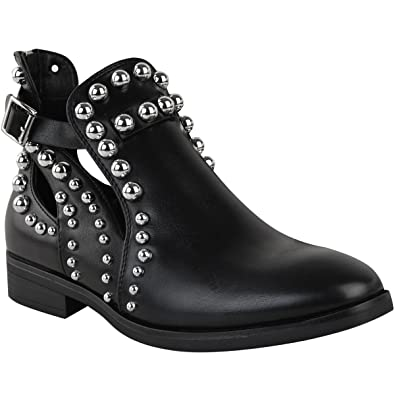 incredible prices super cute factory price Fashion Thirsty Womens Black Flat Chelsea Ankle Boots Studded Embellished  Cut Out Shoes UK Size