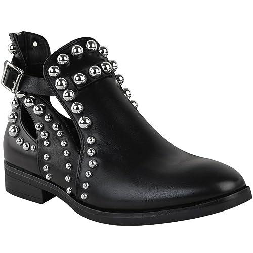 6fc4ad381b40 Fashion Thirsty Bottines Hauteur Cheville - Talon Plat - à Clous Découpes -  Femme - Noir  Amazon.fr  Chaussures et Sacs