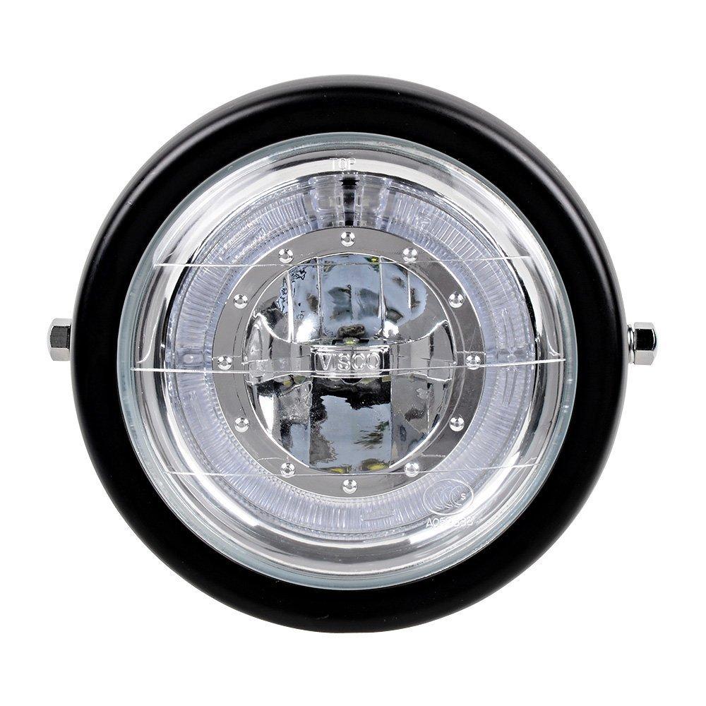 TASWK 6 1//2 CREE LED Motorcycle Retro Black Clear Lens Headlight Halo Ring for Harley Bobber Cafe Racer Cruiser Vintage Style