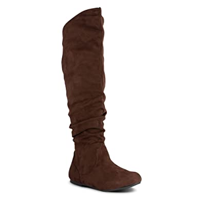 1740f29fb60 Twisted Women s Shelly Wide Calf Faux Suede Knee-High Slouchy Boot -  SHELLY80SP Brown