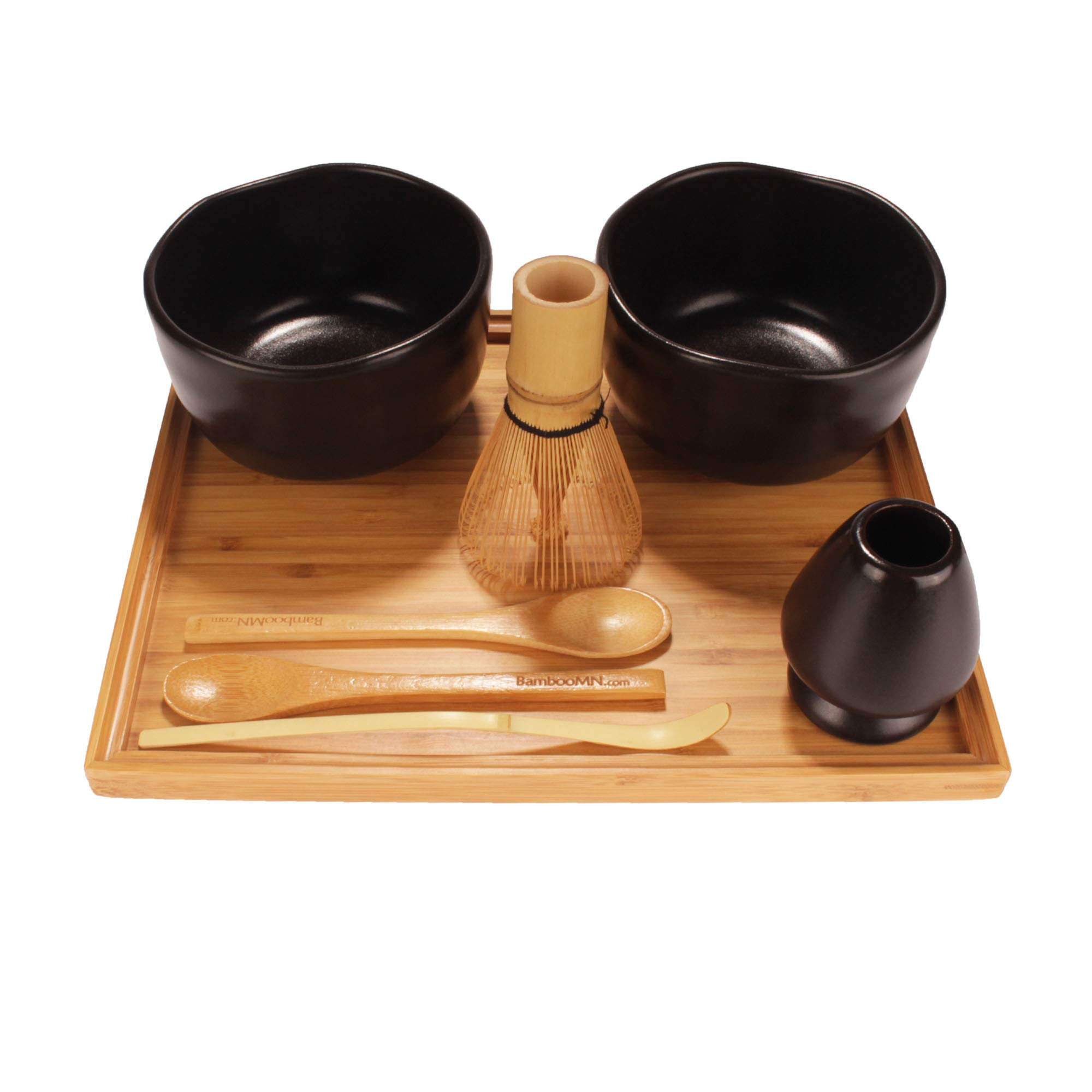 BambooMN Brand - Matcha Bowl Set (Includes 2 Bowls, Tea Whisk, Rest, Large Tray, 2 Teaspoons and Chasaku) - 1 Set - Black by BambooMN