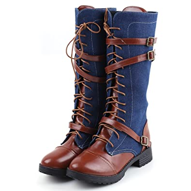 cef49b74965 GUAngqi Women Zip up Knight Knee High Boots Winter Fashion Lace up Punk  Martin Boot Knee