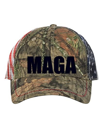 8715f180280 MAGA Outdoor Cap - American Flag Mesh Back Camo Cap Embroidered with  Commercial Brother Machine (