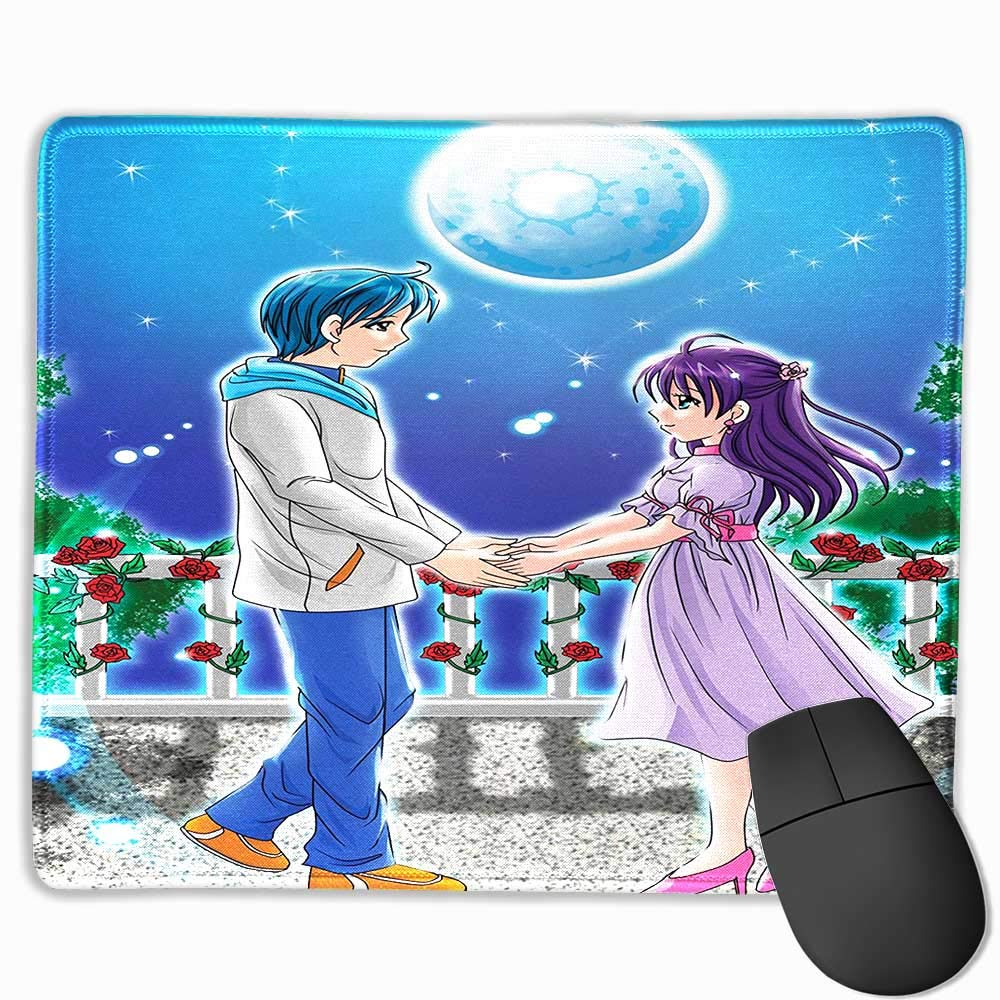 Amazon com mouse padgaming animeillustration of romantic couple holding hands under moonlight love valentines manga artmulti8 5x7 for kids office
