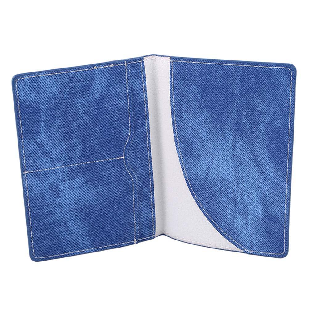 Sevenfly/Couleur Unie Cuir PU Couverture du Passeport Protection du Passeport Sac Porte-Cartes Porte-Cartes Bleu