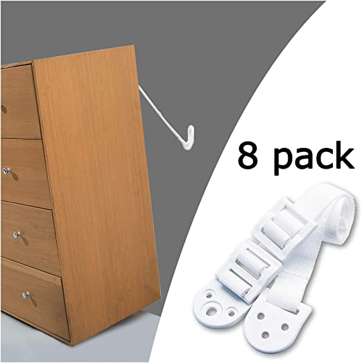 Anti-Tip Anchors for Any Furniture, TV and Furniture Straps 8 Pack WHITE