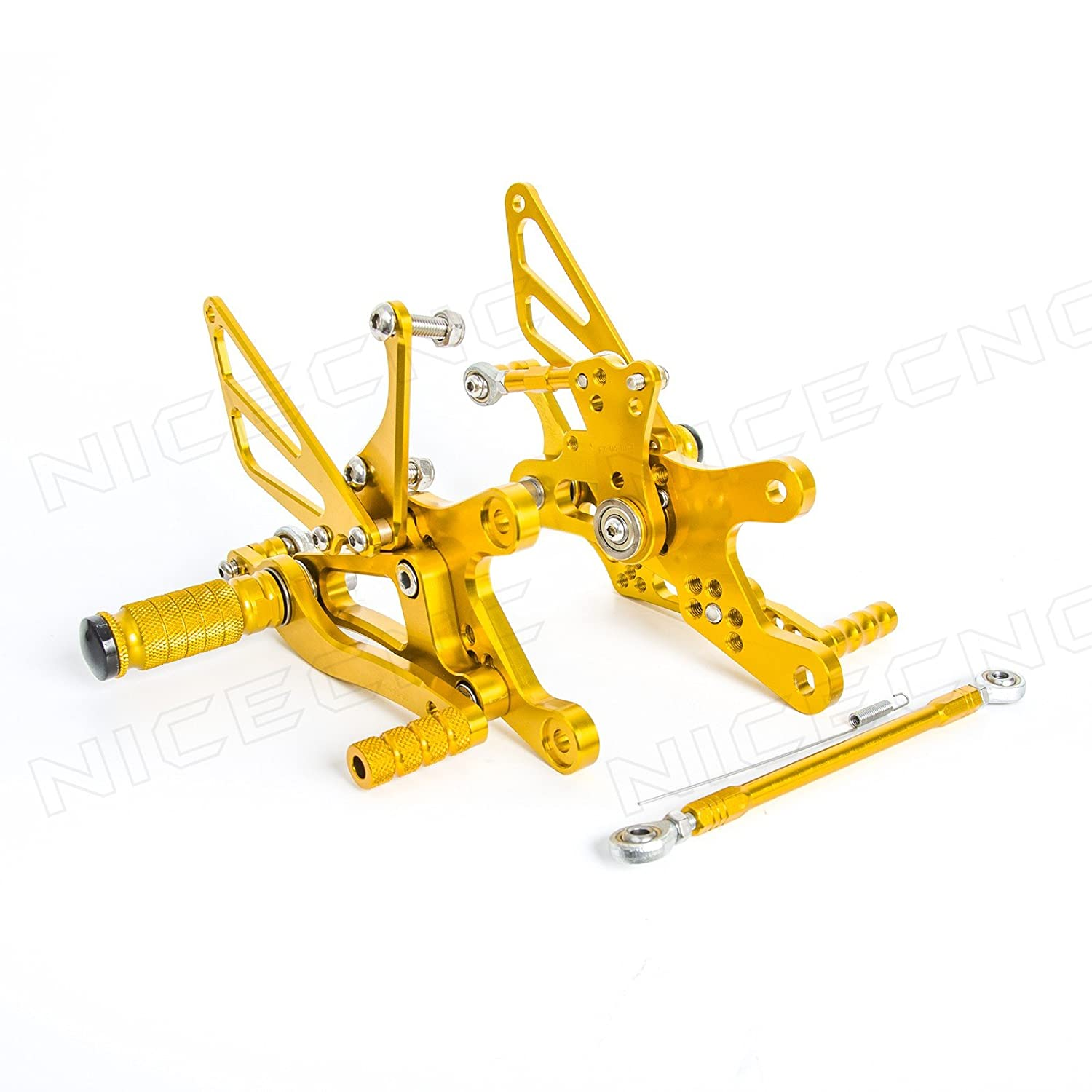 NICECNC Gold Motorcycle Racing Fully Adjustable Rearset Footrests Foot Pegs Rear Set Replace Yamaha YZF-R6 1999 2000 2001 2002