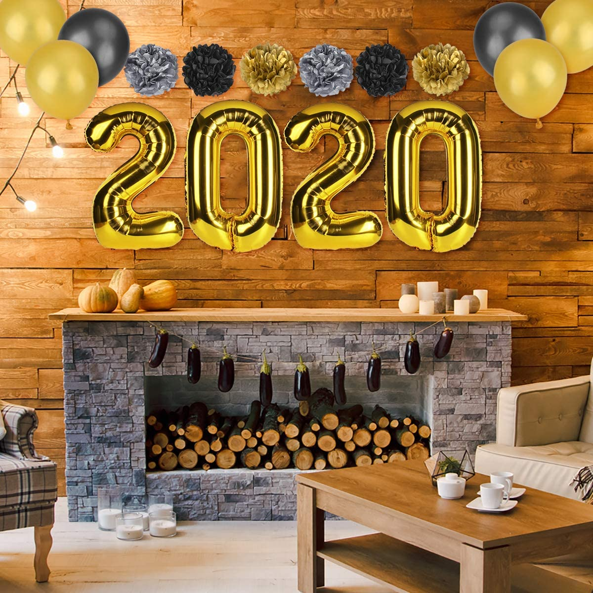 Home Decorations 2020 Balloons 2020 New Years Decorations Kit Gold White And Black Balloons Sets Paper