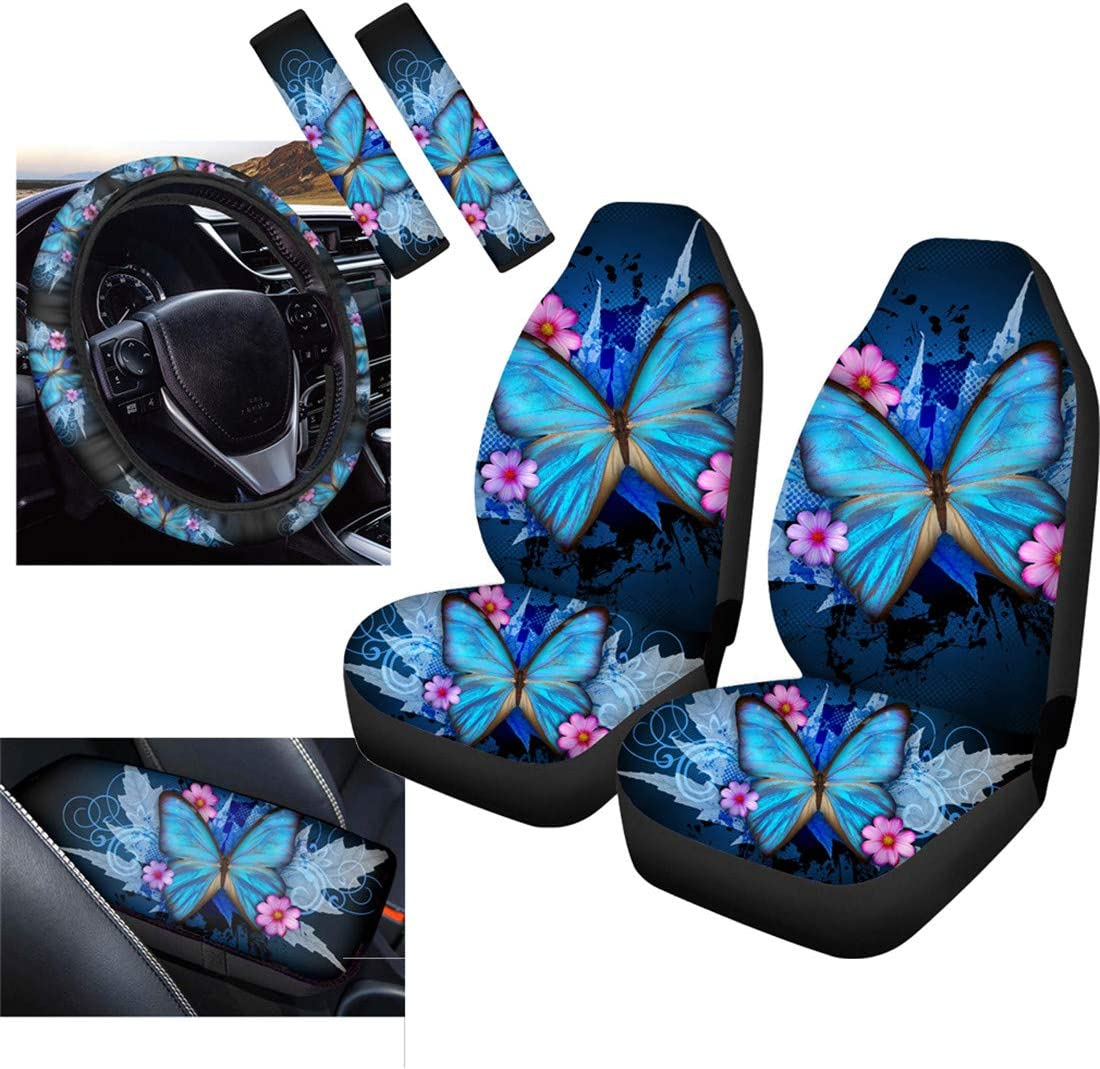 Upetstory Car Accessories Set Dolphin Car Seat Covers Full Set Front Seats Protector with 2 Shoulder Safety Belt Cover 1 Armrest Cover Universal 6 Pack 1 Steering Wheel