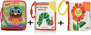 World of Eric Carle, The Very Hungry Caterpillar Tiny Seed Clip-On Soft Book, Let's Count Clip-On Book Peek-A-Boo Forest, Fun Interactive Baby Book with Inspiring Rhymes and Stories (Set of 3)