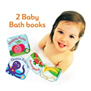 "Floating Kids Books for Bathtub (Set of 2) by Baby Bibi. Fruits & Sea Animals. Waterproof Educational Toy for Baby or Toddler. Bath Time Learn & Play. 3.5""x3.5"""