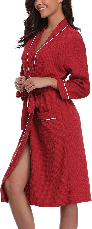 Sykooria Vestaglie Donna Cotone Morbida,Accappatoio da Donna in Cotone da Bagno Casual da Hotel Sauna Sauna con 2 Tasche e Maniche Lunghe