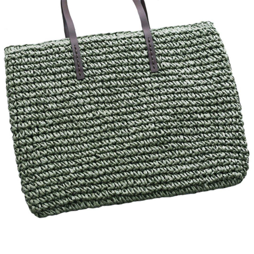 Women Straw Beach Bag Durable Weave Female Bucket Handbag Casual Knitting Rattan Tote Hobos Bags Feminine Shoulder Bags SS0294 Green