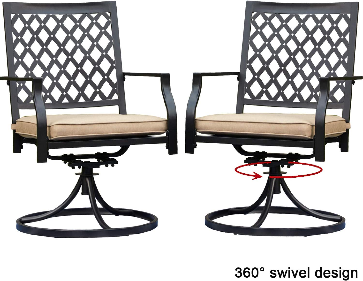 Top Space Outdoor Swivel Chairs Patio Rocker Lounge Chair Metal Bistro Set Club Arm Chair Dining Furniture for Garden Backyard (Set of 2, Beige)