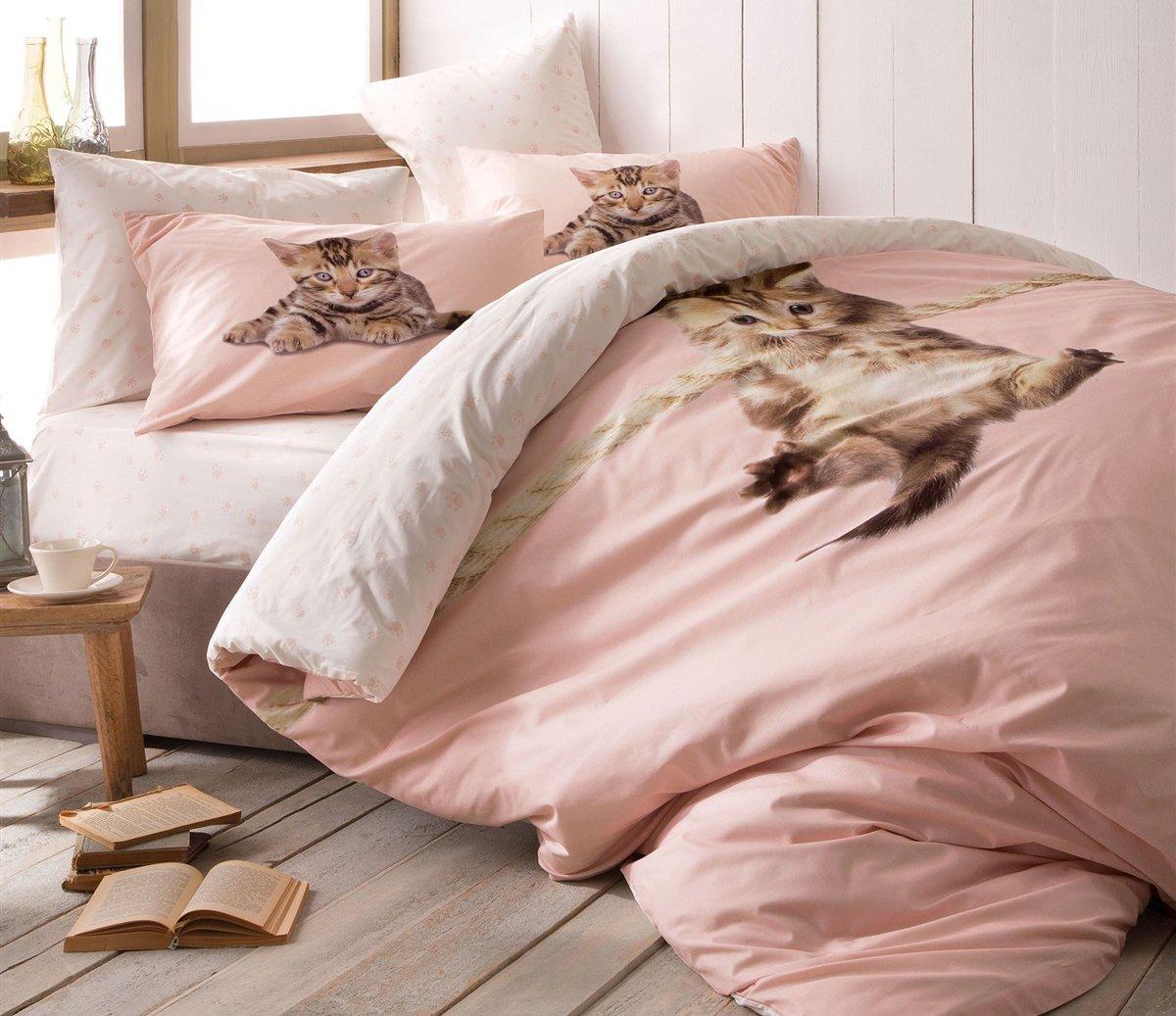 Paris Home 100% Cotton 5pcs Full Size Comforter Set Kitty Little Cute Cats Bedding Linens