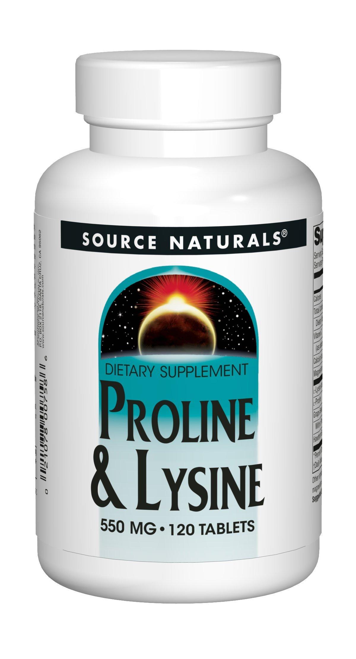 Source Naturals L-Proline 275/L-Lysine 275, 120 Tablets by Source Naturals