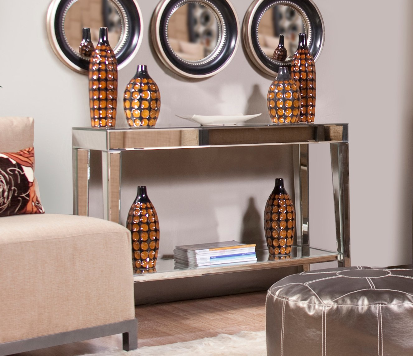 Amazon howard elliott 11096 mirrored console table with a amazon howard elliott 11096 mirrored console table with a bottom shelf home kitchen geotapseo Image collections