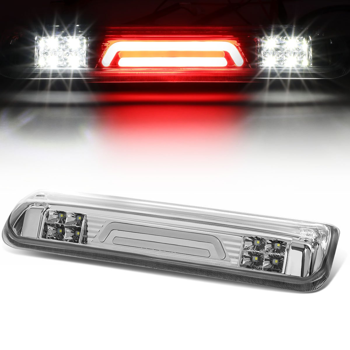 For Ford Explorer Sport Trac/F-150 3D LED Light Bar Third Brake Lamps (Chrome Housing/Clear Lens) 4th Auto Dynasty
