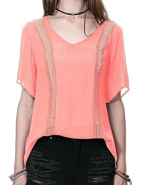 Regna X Boho Women's Shirring Detail Short Sleeve Chiffon Blouse Tops