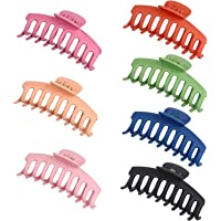 7 Pcs Plastic Hair Claw Clips Nonslip Large Girls Hair Claw Clips Jaw for Women and Girls Thin Hair, Strong Hold for…